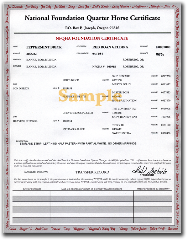 NFQHA Sample Certificate